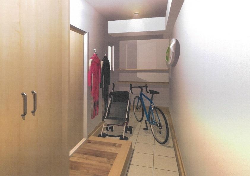 ベビーカーを置いても余裕の玄関スペース