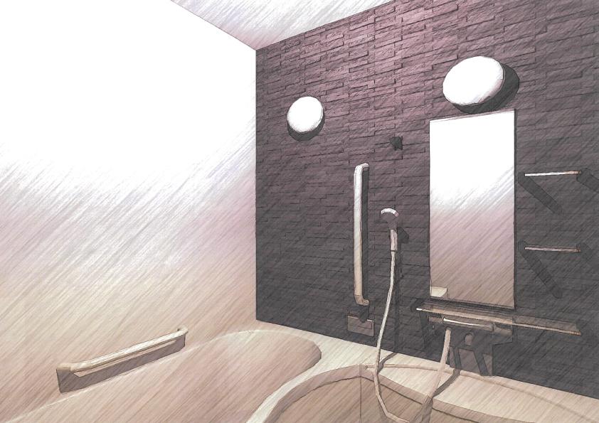 モノトーン調でシックな浴室
